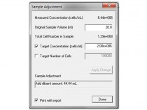Cell concentration adjustment calculator in the Cellometer Vision software.