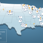 US map showing Cellometer and top 50 breweries