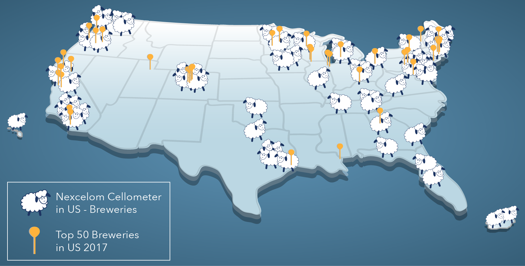 US map showing Cellometer yeast cell counters and top 50 breweries