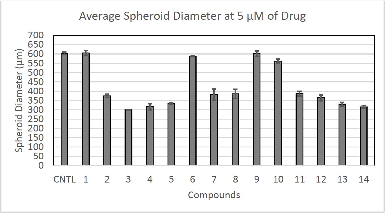 Average Spheroid Diameter at 5 µM of Drug