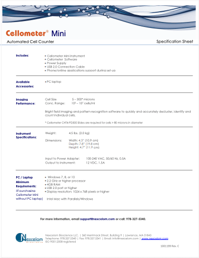 Cellometer Mini Specs